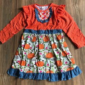 Other - New boutique fall pumpkin print ruffle dress